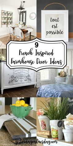 9 Lovely French Farmhouse Ideas: Lovely ways to add a touch of French Farmhouse Charm to your home decor. French Farmhouse | Fixer Upper | Farmhouse