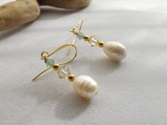 Pearl and Swarovski Crystal Drop Dangle Earrings by Sparklesalot2, $7.00