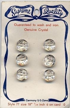 Vintage crystal glass buttons