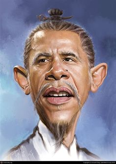 Hilarious Digital Caricatures Of Famous People - A caricature is a portrait of a person that exaggerates certain features in order to expres. Cartoon Faces, Funny Faces, Cartoon Drawings, Cartoon Art, Funny Caricatures, Celebrity Caricatures, Popular People, Famous People, Barack Obama