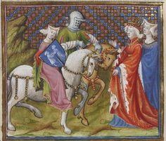 Lancelot-Graal. 2° « L'Enserrement de Merlin » de « ROBERT » [DE BORRON]. Auteur : Maître des cleres femmes (13..-14..). Enlumineur Date d'édition : 1301-1400 Type : manuscrit Langue : Français