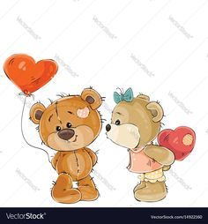 Vector illustration of a brown teddy bear holding in its paw a red balloon in the shape of a heart, his girlfriend is going to kiss him. Print, template, design element. Download a Free Preview or High Quality Adobe Illustrator Ai, EPS, PDF and High Resolution JPEG versions.