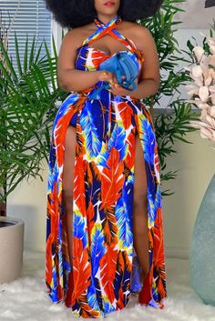 Red Fashion Sexy Plus Size Print Backless Slit Halter Sleeveless Dress Orange Fashion, Blue Fashion, Fashion Outfits, Leopard Fashion, Denim Fashion, Women's Fashion, Plus Size Dresses, Plus Size Outfits, Plus Size Jumpsuit