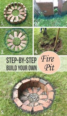 DIY Round Brick Firepit Tutorial, how to build a simple backyard fire pit in the ground with bricks and gravel. DIY Round Brick Firepit Tutorial, how to build a simple backyard fire pit in the ground with bricks and gravel. Backyard Projects, Outdoor Projects, Garden Projects, Outdoor Decor, Outdoor Lighting, Backyard Lighting, Craft Projects, Brick Projects, Landscape Lighting