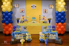 Incredible set up at a Despicable me Minions party! See more party planning ideas at CatchMyParty.com!