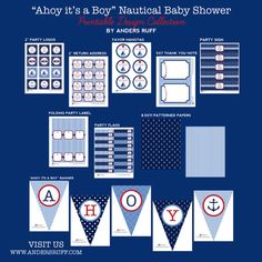 AHOY Its a Boy Baby Shower Printables Collection by ShopAndersRuff, $43.00