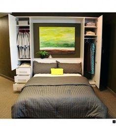 Penthouse Murphy Bed W/Hutches-Open Penthouse-Schrankbett mit offenen Hütten Cama Murphy, Murphy Bed Ikea, Murphy Bed Plans, Queen Murphy Bed, Bedroom Storage, Bedroom Decor, Master Bedroom, Linen Storage, Bedroom Ideas