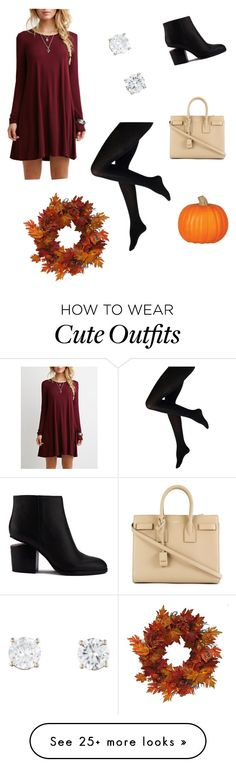 """""""Cute fall outfit"""" by jessicaaeo on Polyvore featuring Alexander Wang, Yves Saint Laurent and Harvest"""