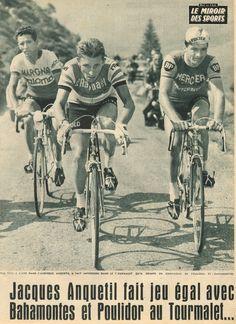 Tour de France 1963. 10^Tappa, 2 luglio. Pau > Bagnères de Bigorre. Col du Tourmalet. Raymond Poulidor (1936), Federico Martin Bahamontes (1928) e Jacques Anquetil (1934-1987)