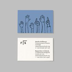 Brand identity, illustration and business cards for Researchers In Schools by Paul Belford Ltd.