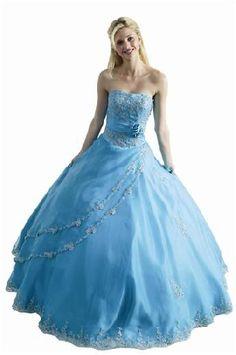 blue puffy long prom dresses