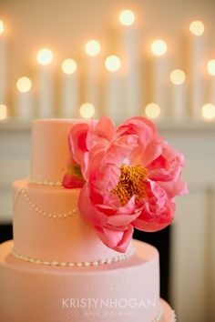 Coral cake with huge flower and pearls
