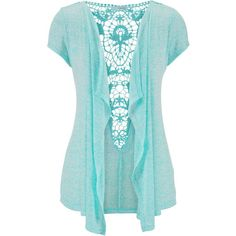 maurices Crochet Back Short Sleeve Blanket Cardigan ($29) ❤ liked on Polyvore featuring tops, cardigans, jackets, sweaters, outerwear, ocean tide, blue short sleeve cardigan, short sleeve crochet cardigan, blue crochet top and blue short sleeve top