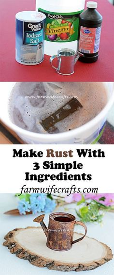 "Rust With 3 Simple Ingredients Make shiny things look vintage with this easy to make rust ""recipe"" using only 3 simple ingredients.Make shiny things look vintage with this easy to make rust ""recipe"" using only 3 simple ingredients. Craft Projects, Projects To Try, Metal Projects, Craft Ideas, Metal Crafts, Tapas, Creation Deco, Look Vintage, Vintage Diy"