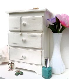 Shabby Chic Jewelry Box Armoire by WeeLambieVintage on Etsy, $28.00