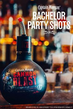 A tailgate without Cannon Blast shots is like Game Day without tailgating. Bartender Drinks, Liquor Drinks, Alcoholic Drinks, Fun Cocktails, Party Drinks, Fun Drinks, Party Shots, Rum Recipes, Alcohol Recipes