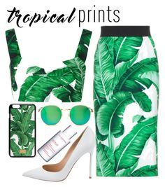 """Untitled #228"" by mareehamasood246 ❤ liked on Polyvore featuring Dolce&Gabbana, Gianvito Rossi, Wildfox, Clarins, tropicalprints and hottropics"