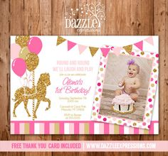 Printable Pink and Gold Glitter Carousel Birthday Invitation | Photo | Check out the matching party package decorations | Carousel Horse | Carnival | Merry go round | Girl Birthday Party Idea | DIY | Digital File | FREE thank you card included | Cupcake Toppers | Favor Tag | Food and Drink Labels | Signs |  Candy Bar Wrapper | www.dazzleexpressions.com