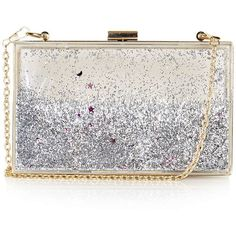 TOPSHOP **Silver Glitter Clutch Bag by Skinnydip ($57) ❤ liked on Polyvore featuring bags, handbags, clutches, silver, white handbags, topshop handbags, silver purse, topshop purse and topshop