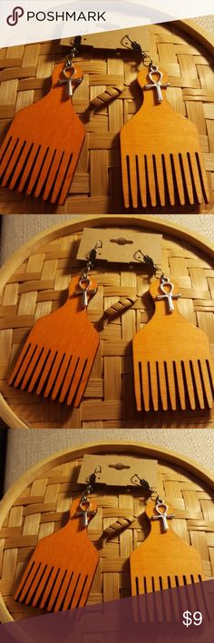 Afro pic Orange Wood Dyed earrings Afro pic Orange Dyed Wood Stain Dangle  earrings  with silver top tiny Silver pewter ankhs with Silver surgical steel lever backs ear wires.   Hypoallergenic light weight.   2 1/2  inches in length. Jewelry Earrings
