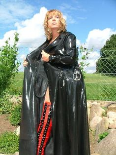 "Black PVC Raincoat. ""You've seen too much, already x"""