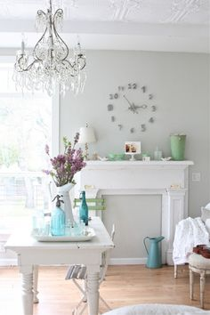 Wall Clock- want to do this in bright white on a dark grey wall.