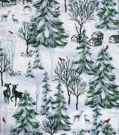 Holiday Inspirations Christmas Fabric Winter Forest Scenic Glitter