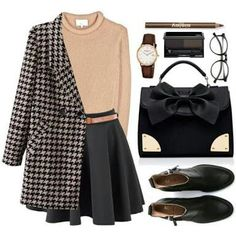 Outfit uploaded by BabyCakes on We Heart It Classy Outfits, Stylish Outfits, Vintage Outfits, Preppy Outfits For School, Fall Winter Outfits, Autumn Winter Fashion, Look Fashion, Korean Fashion, Fashion Rings