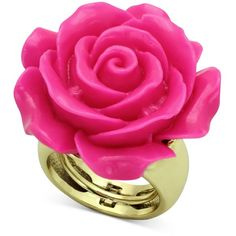 Glitterings 14k Gold-Plated Pink Rose Adjustable Ring ($9.99) ❤ liked on Polyvore featuring jewelry, rings, accessories, anillos, anéis, 14 karat gold ring, rose jewelry, pink flower ring, rose flower ring and glitter rings