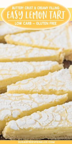 low sugar desserts A creamy low carb lemon tart thats gluten-free, and keto friendly. This is an easy low carb baking recipe that takes no time at all to pull together. Clocking in at carbs per slice it makes for a great sugar-free dessert option. Patisserie Sans Gluten, Dessert Sans Gluten, Gluten Free Sweets, Easy Low Carb Dessert, Gluten Free Pie, Low Carb Sweets, Gluten Free Cakes, Low Sugar Desserts, Dessert Recipes