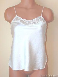 Victoria's Secret Vintage Lingerie Small Silk Ivory Cami Side Vents Lace Trim #VictoriasSecret