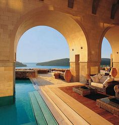 Blue palace resort & spa, Hotels in Elounda Crete Greece Vacation Destinations, Dream Vacations, Honeymoon Getaways, Oh The Places You'll Go, Places To Travel, Elounda Crete, Crete Hotels, Restaurant Hotel, Travel
