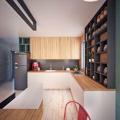 Cozinhas com móveis de madeira são frequentes em casas de campo, mas com a moda…