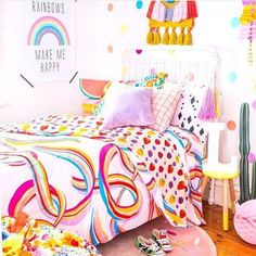 Kip & Co Kid's Rainbows + Very Berry Reversible Quilt Cover - King Single Girl Room, Girls Bedroom, Bedroom Decor, Periwinkle Room, Duvet, Bedding, We Have A Winner, Quilt Cover, New Room