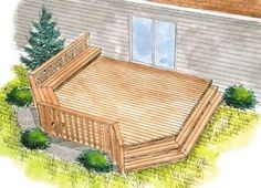 Love the wrap around bench and style of steps for this back porch