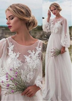 Fabulous Tulle Jewel Neckline Natural Waistline A-line Wedding Dress With Beaded Lace Appliques robe dresses dresses beach dresses boho dresses lace dresses princess dresses vintage Wedding Robe, Boho Wedding Dress, Wedding Gowns, Regency Wedding Dress, Wedding Ceremony, Wedding App, Tulle Wedding, Lace Dresses, Bridal Dresses