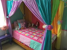 DIY canopy bed with rainbow curtains - Heather& Handmade Life Rainbow Curtains, Rainbow Bedroom, Rainbow Bedding, Rainbow Quilt, Princess Canopy Bed, Princess Room, Diy Canopy, Girls Canopy Beds, Bed Canopies