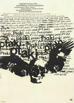 1965 Polish publicity poster for THE BIRDS (Alfred Hitchcock, USA, 1960/1963) | Designer: Bronislaw Zelek.