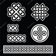 Buy Celtic Irish Patterns and Braids by RedKoala on GraphicRiver. Set old traditional Celtic symbols, knots, braids in black and white FEATURES: Vector Shapes All groups have nam. Celtic Symbols, Celtic Art, Celtic Knots, Design Celta, Celtic Knot Designs, Celtic Patterns, Image Gifts, Irish Celtic, Art Prints