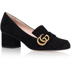 Gucci Marmont Fringed Loafers 55 ($555) ❤ liked on Polyvore featuring shoes, loafers, fringe loafers, gucci shoes, gucci footwear, loafer shoes and gucci loafers