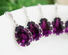 PERFECT shade of plum! SET of 4 Amethyst Swarovski Crystal Tear drops.