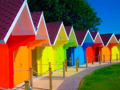 Color My World - Chicago - (rainbow beach houses) Colors Of The World, All The Colors, Vibrant Colors, Purple Colors, Taste The Rainbow, Over The Rainbow, Crazy Colour, Color Of Life, What's My Favorite Color