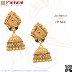 Jhumka: JH051: Yellow gold Jhumkas - 9.78 Grams : 22 KT Price: $551.78   €491.27 Shop now from: http://bit.ly/1iBfSH4