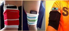 Cellphone/ MP3 Arm Holder  If you like doing exercise but never find a place to put your cellphone or MP3 while you are working out this idea is perfect for you. Cut an old sock and use it as a holder in your arm. Now you can listen songs while doing exercise and keep your cellphone or MP3 player safe from falling and get damage.