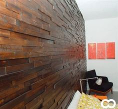 Stacked Wood Wall Design | Modern-Looking Scrap Wood Walls » Curbly | DIY Design Community