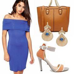 Forza donne, affrettatevi, è tempo di saldi , tutto al 50 % con asos, qui vi propongo un outfit casual, da giorno, un bellissimo vestito blu elettrico abbinato a sandali, arancio e grigio, borsa maxi di cuoio, e orecchini chic gold e blu!