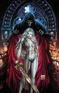 redskullsmadhouse:  lady_death_risque_by_kromespawn