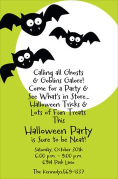 Bat Glow Halloween Invitations
