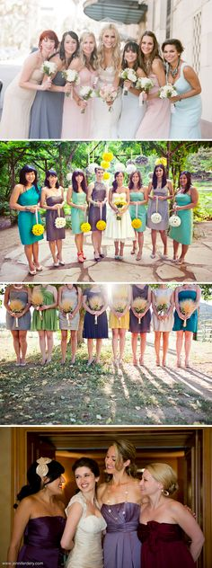 I like the bridesmaids dress on the bottom 3rd one. Also like the flowers...