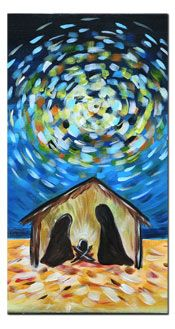 Van Gogh–style Nativity painting - I really want to paint this! Christmas Canvas, Christmas Paintings, Christmas Nativity, Christmas Art, Christmas Projects, Nativity Painting, Theme Noel, Winter Art, Paint Party